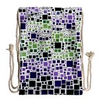 Block On Block, Purple Drawstring Bag (Large) Back