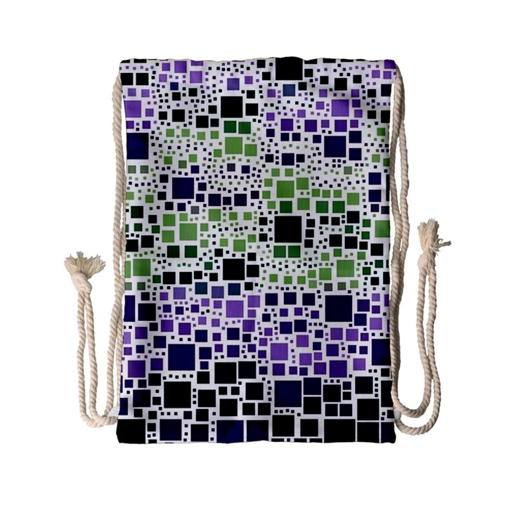 Block On Block, Purple Drawstring Bag (Small)
