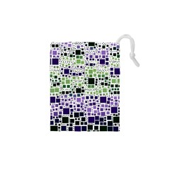 Block On Block, Purple Drawstring Pouches (XS)