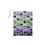 Block On Block, Purple Drawstring Pouches (XS)  Back