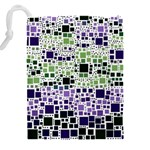 Block On Block, Purple Drawstring Pouches (XXL) Back