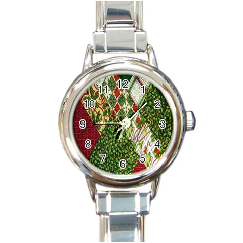 Christmas Quilt Background Round Italian Charm Watch