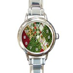 Christmas Quilt Background Round Italian Charm Watch Front