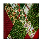Christmas Quilt Background Tile Coasters Front