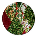 Christmas Quilt Background Round Mousepads Front