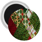 Christmas Quilt Background 3  Magnets Front