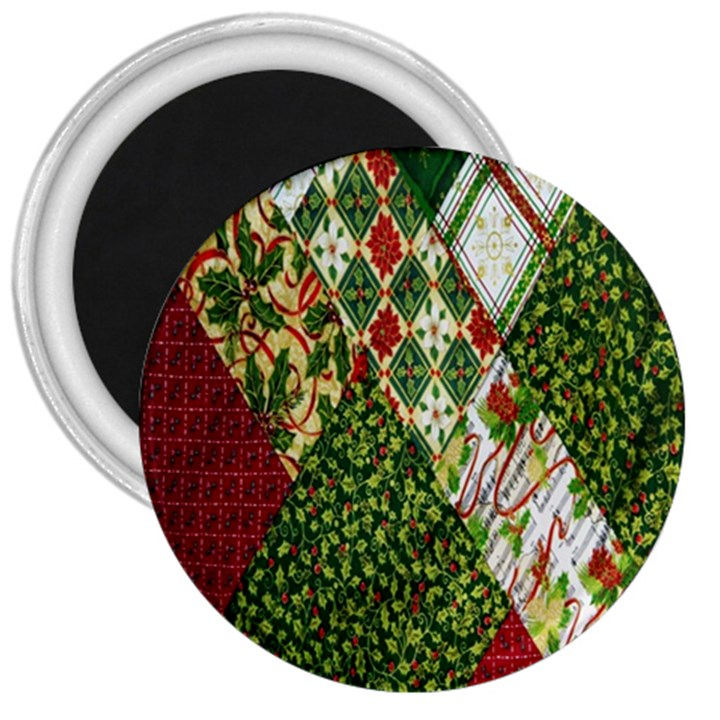 Christmas Quilt Background 3  Magnets