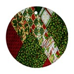 Christmas Quilt Background Ornament (Round)  Front