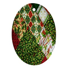 Christmas Quilt Background Ornament (Oval)
