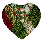 Christmas Quilt Background Ornament (Heart)  Front