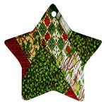 Christmas Quilt Background Ornament (Star)  Front