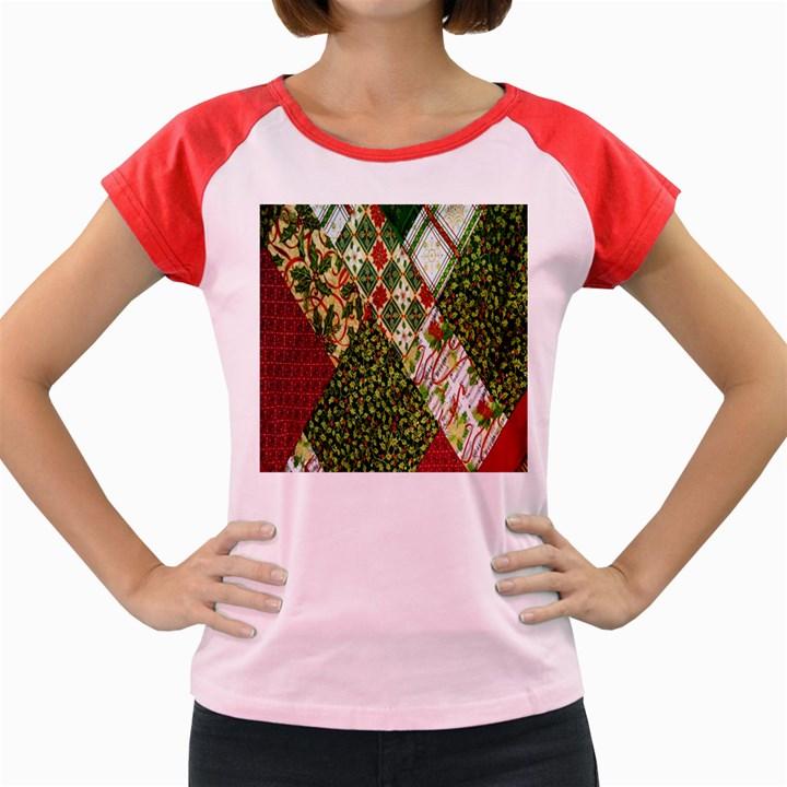 Christmas Quilt Background Women s Cap Sleeve T-Shirt