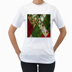 Christmas Quilt Background Women s T-Shirt (White) (Two Sided)