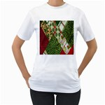 Christmas Quilt Background Women s T-Shirt (White) (Two Sided) Front