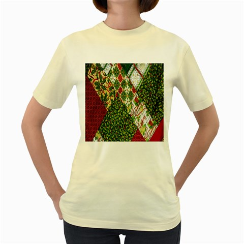 Christmas Quilt Background Women s Yellow T-Shirt