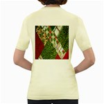 Christmas Quilt Background Women s Yellow T-Shirt Back