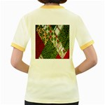 Christmas Quilt Background Women s Fitted Ringer T-Shirts Back