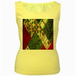 Christmas Quilt Background Women s Yellow Tank Top Front