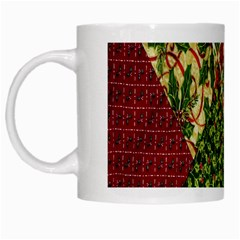 Christmas Quilt Background White Mugs