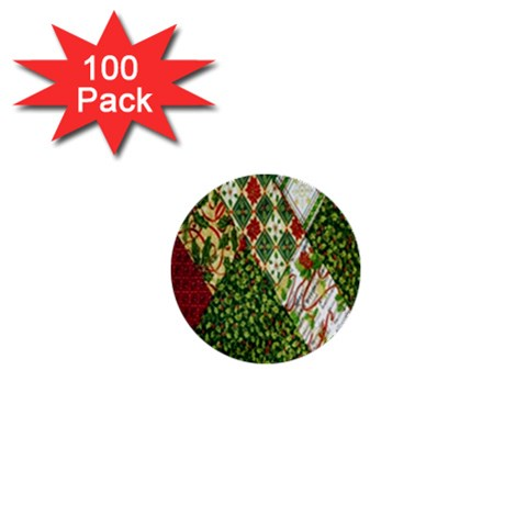 Christmas Quilt Background 1  Mini Buttons (100 pack)