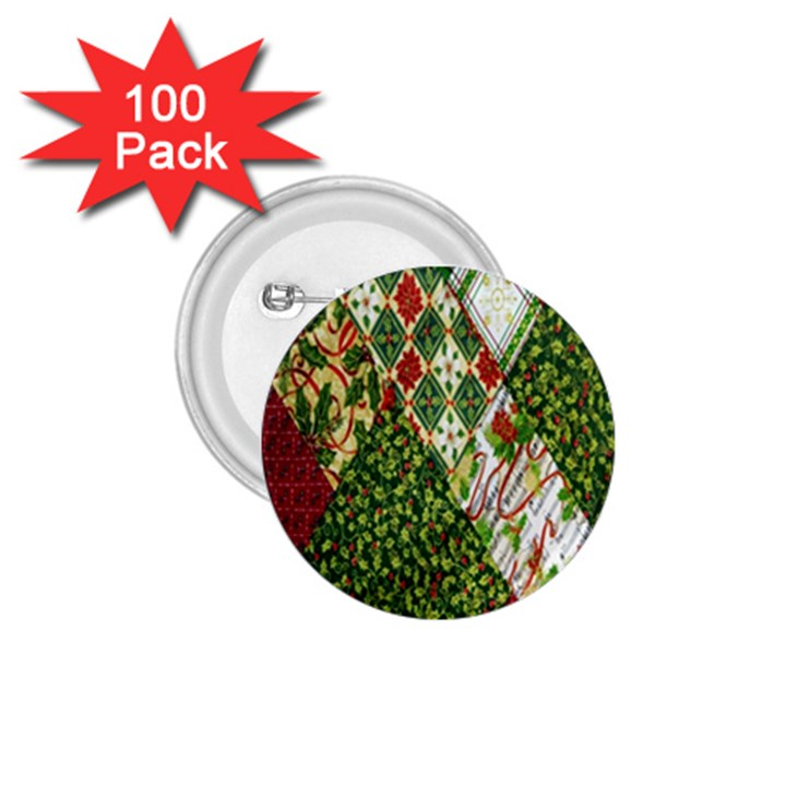 Christmas Quilt Background 1.75  Buttons (100 pack)