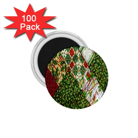 Christmas Quilt Background 1.75  Magnets (100 pack)