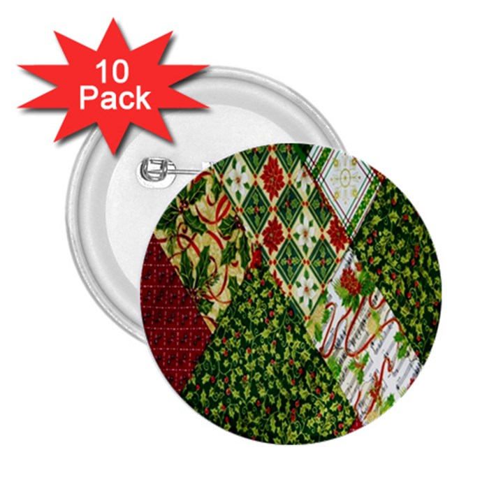 Christmas Quilt Background 2.25  Buttons (10 pack)