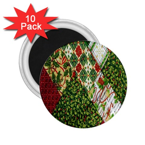 Christmas Quilt Background 2.25  Magnets (10 pack)