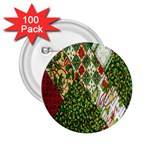 Christmas Quilt Background 2.25  Buttons (100 pack)  Front