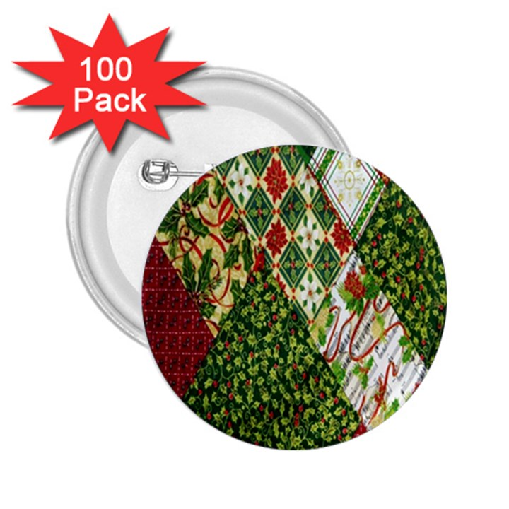 Christmas Quilt Background 2.25  Buttons (100 pack)
