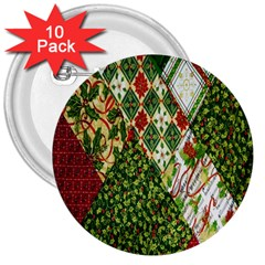 Christmas Quilt Background 3  Buttons (10 pack)