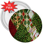 Christmas Quilt Background 3  Buttons (10 pack)  Front