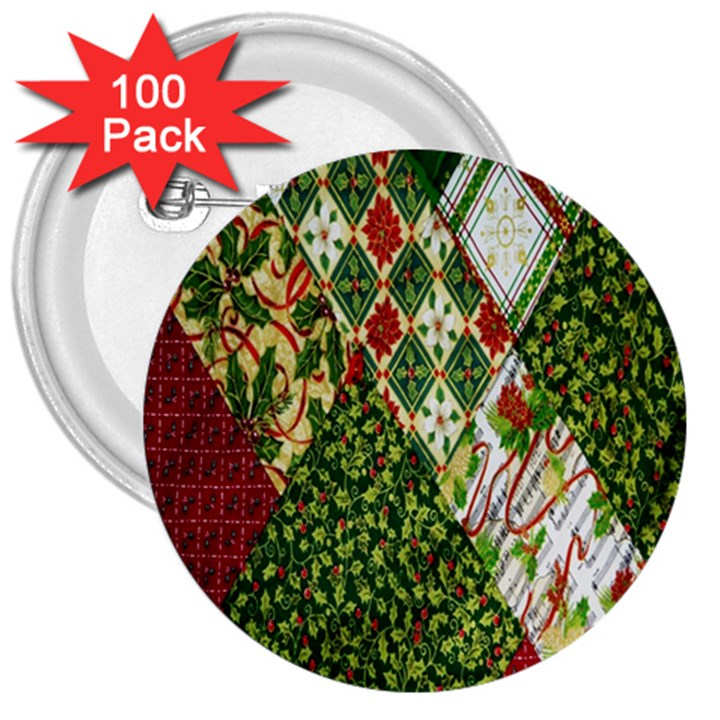 Christmas Quilt Background 3  Buttons (100 pack)