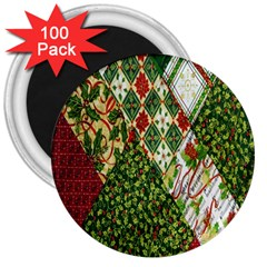 Christmas Quilt Background 3  Magnets (100 pack)