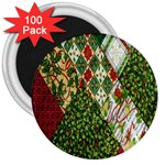 Christmas Quilt Background 3  Magnets (100 pack) Front