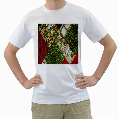 Christmas Quilt Background Men s T-Shirt (White) (Two Sided)