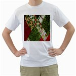 Christmas Quilt Background Men s T-Shirt (White) (Two Sided) Front