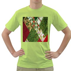 Christmas Quilt Background Green T-Shirt