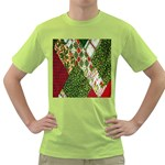 Christmas Quilt Background Green T-Shirt Front