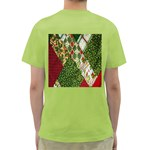 Christmas Quilt Background Green T-Shirt Back