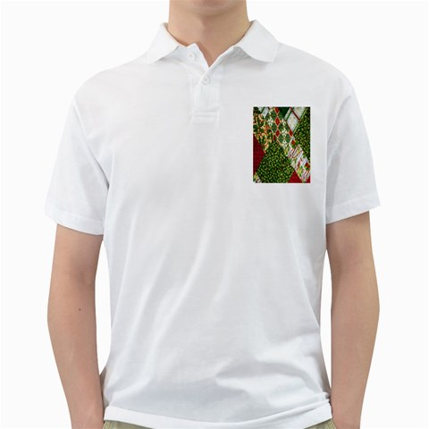 Christmas Quilt Background Golf Shirts