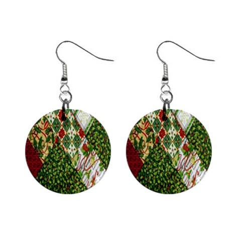 Christmas Quilt Background Mini Button Earrings