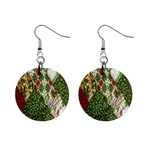 Christmas Quilt Background Mini Button Earrings Front