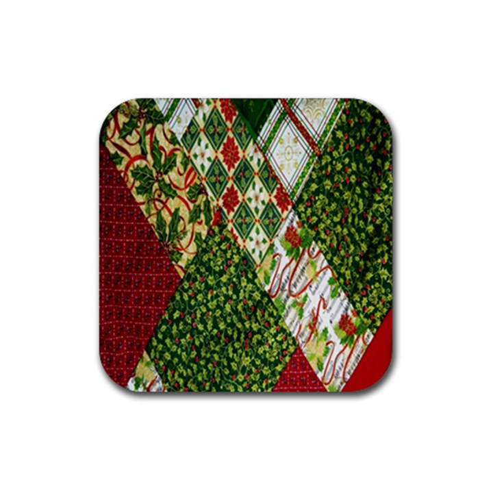 Christmas Quilt Background Rubber Coaster (Square)