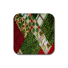 Christmas Quilt Background Rubber Square Coaster (4 pack)