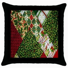 Christmas Quilt Background Throw Pillow Case (Black)
