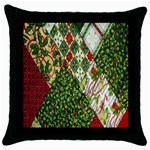 Christmas Quilt Background Throw Pillow Case (Black) Front