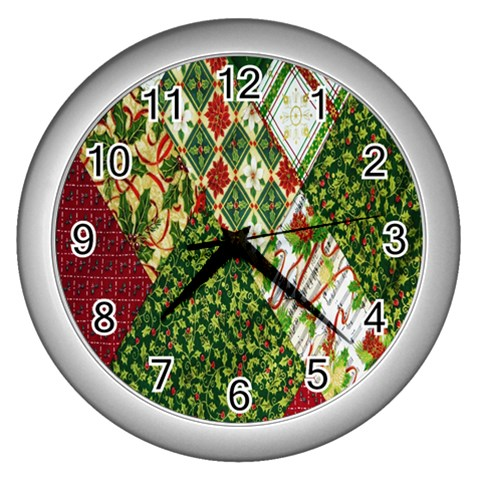 Christmas Quilt Background Wall Clocks (Silver)