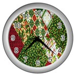 Christmas Quilt Background Wall Clocks (Silver)  Front
