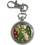 Christmas Quilt Background Key Chain Watches Front